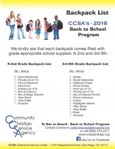 Back to School Program BP lists 2016
