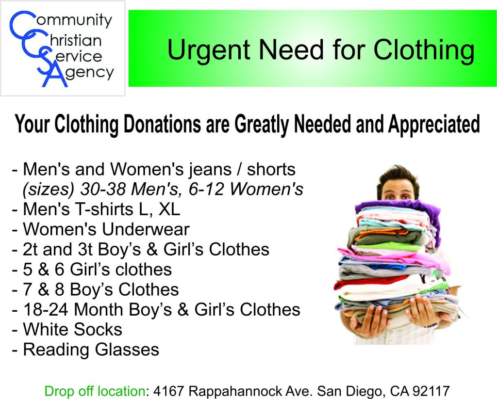 Clothing Needed 7-12-2016
